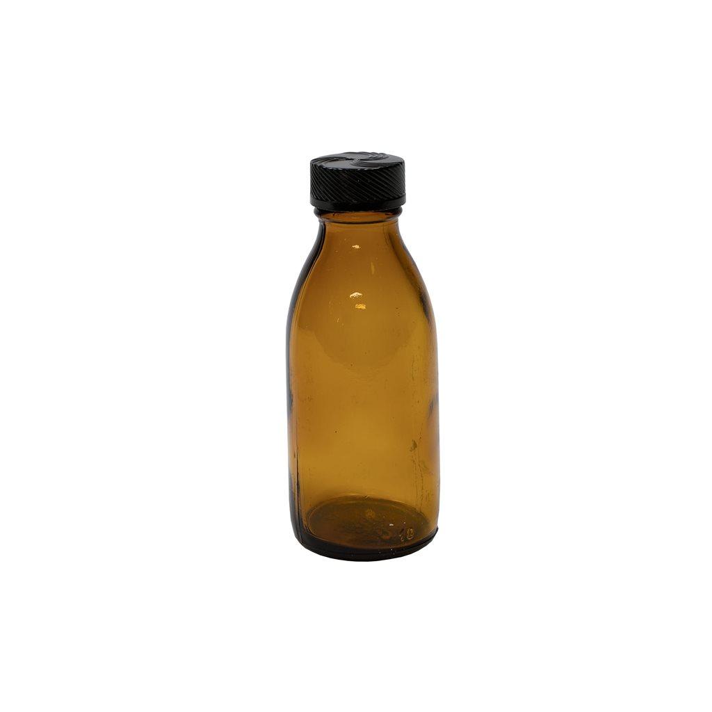 Lahvička skleněná HNĚDÁ úzkohrdlá 100 ml s plastovým víčkem
