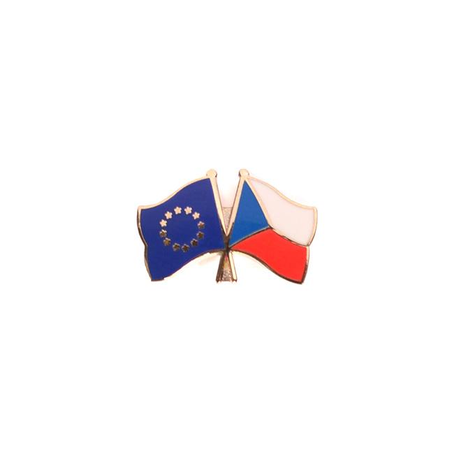 Odznak vlající vlajky přátelství ČR x EU