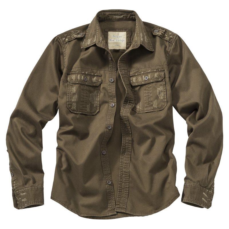 Košile RAW VINTAGE s dlouhým rukávem HNĚDÁ SURPLUS 06-3591-05 L-11