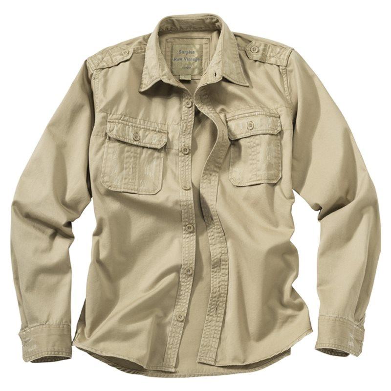 Košile RAW VINTAGE s dlouhým rukávem KHAKI SURPLUS 06-3591-74 L-11