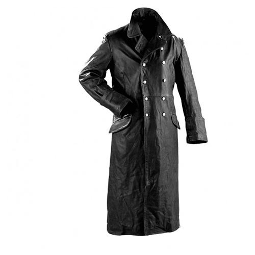 Kabát důstojnický kožený ČERNÝ MIL-TEC® 10190002 L-11