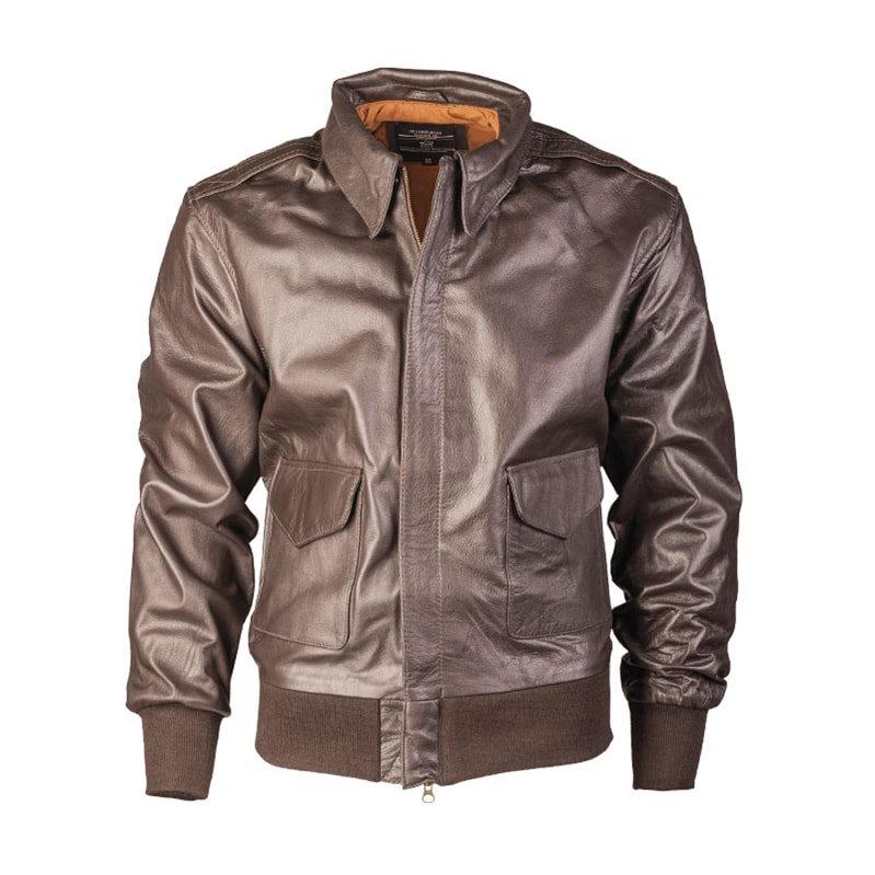 Bunda kožená US A2 s límcem HNĚDÁ MIL-TEC® 10460009 L-11