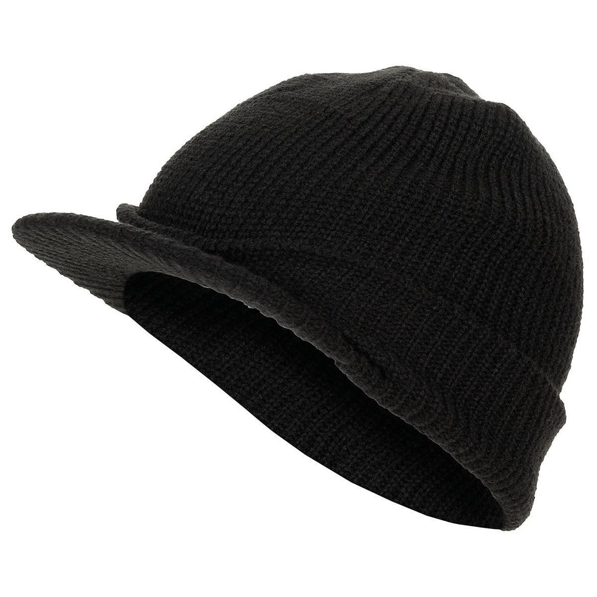 Čepice pletená s kšiltem US SHIELD ČERNÁ