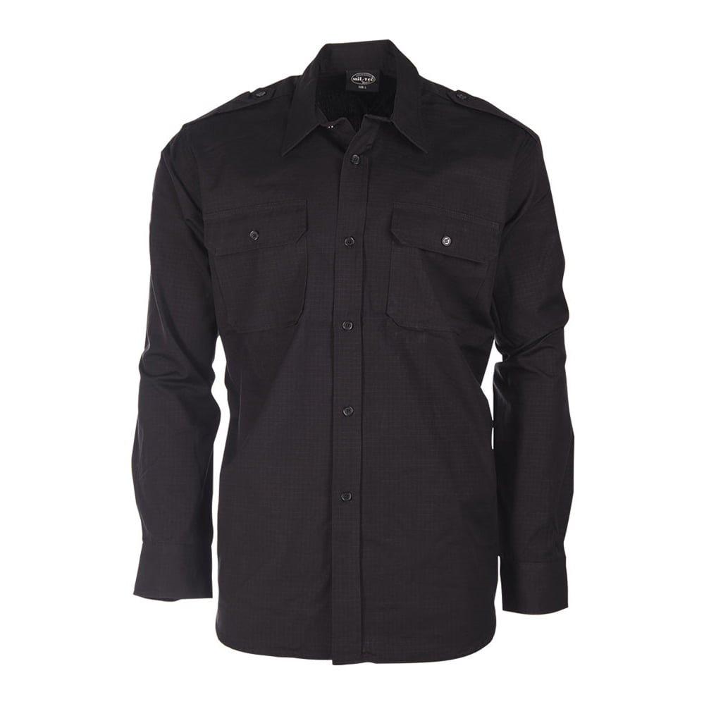 Košile polní na knoflíky rip-stop ČERNÁ MIL-TEC® 10915002 L-11