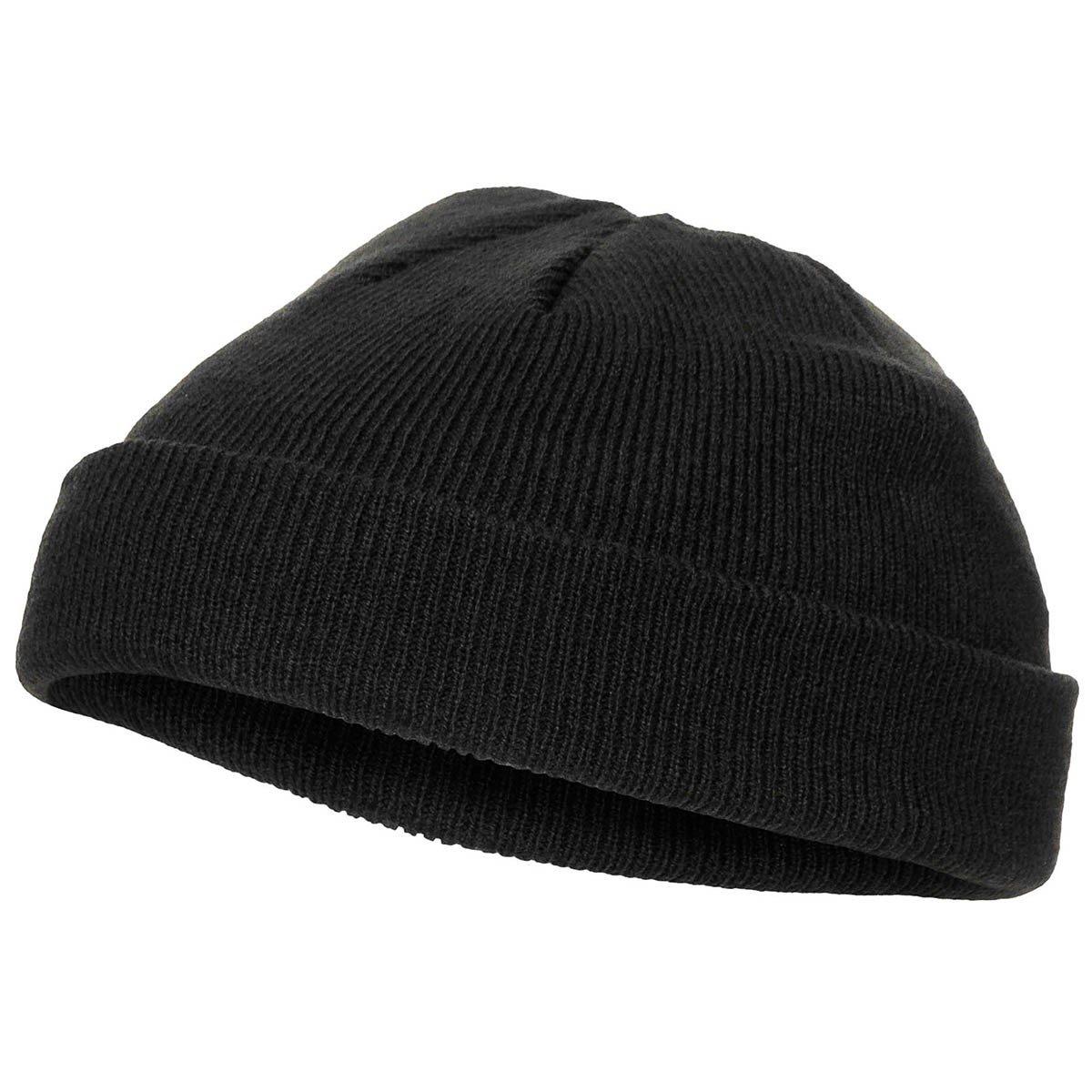Čepice jemně pletená extra krátká  Acryl ČERNÁ