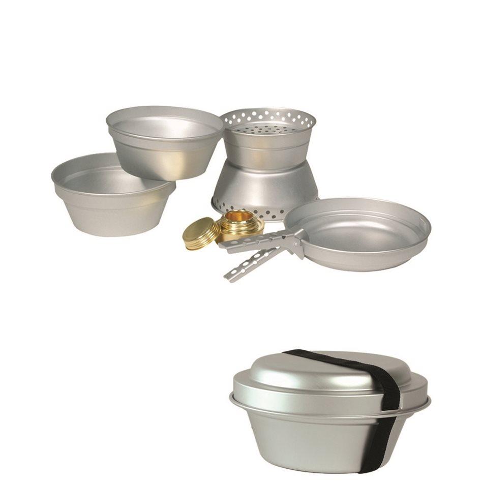 Nádobí ALU na vaření 3 dílná sada s vařičem na líh