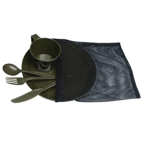Set jídelní CAMP plastový v sáčku ZELENÝ