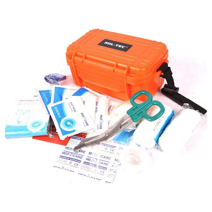 Lékárnička vybavená CAMPING ve vodotěstném boxu ORANŽ.