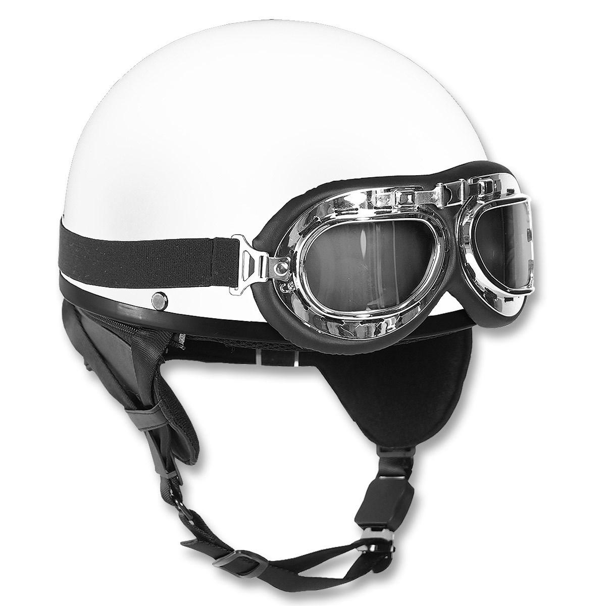 MIL-TEC Helma motocyklová RETRO BÍLÁ