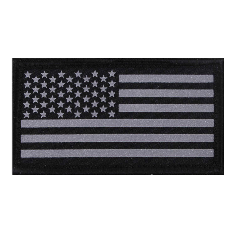 Nášivka REFLEXNÍ vlajka USA velcro ČERNÁ