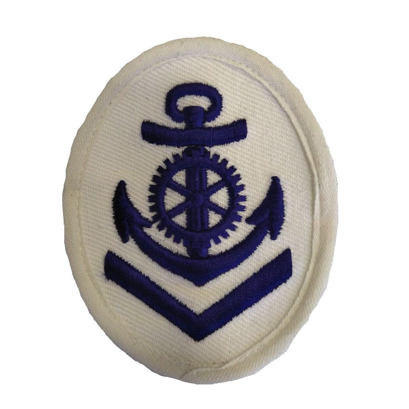 Nášivka námořních jednotek NVA ovál s kotvou a kormidlem + V BÍLÁ