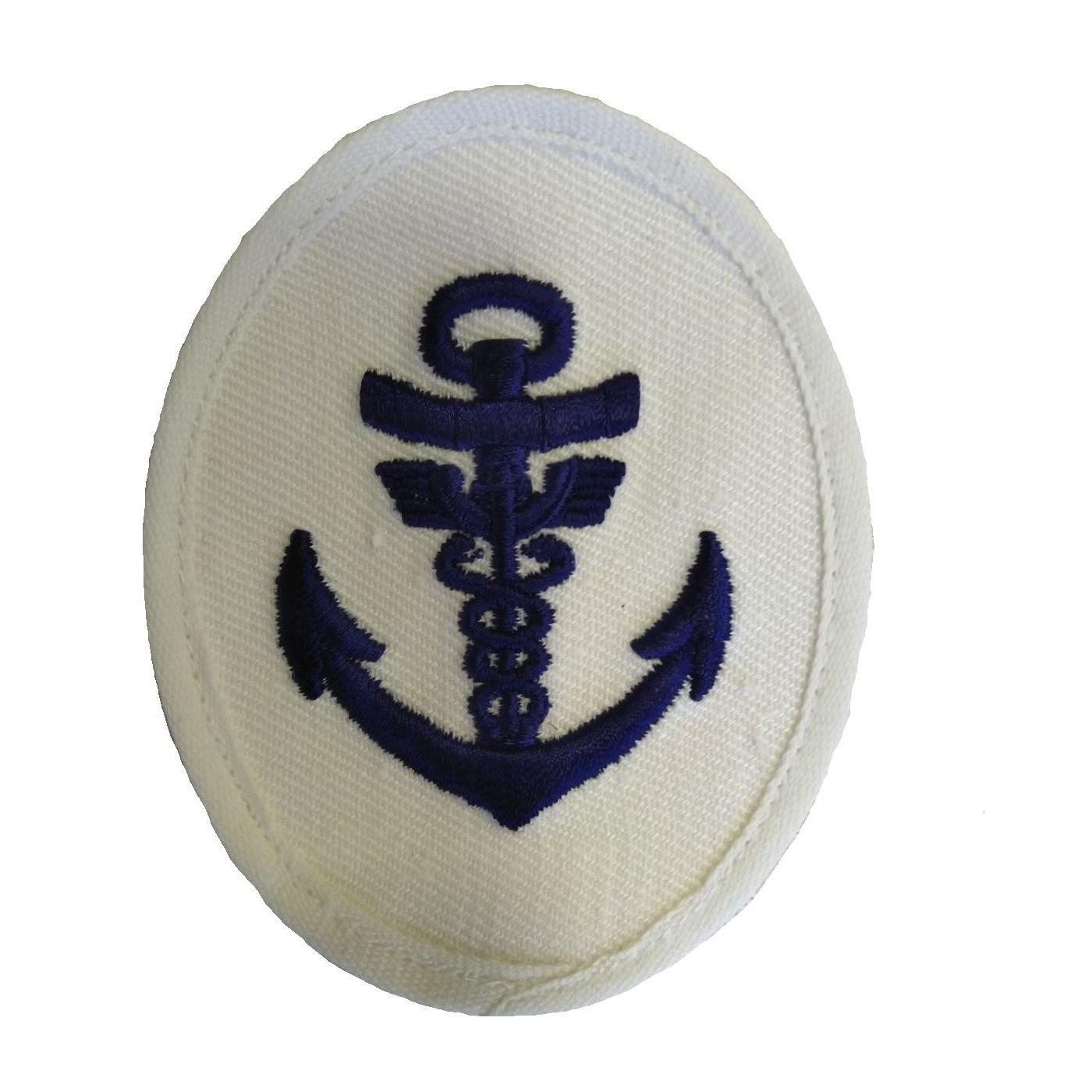 Nášivka námořních jednotek NVA ovál s kotvou, dva hadi BÍLÁ