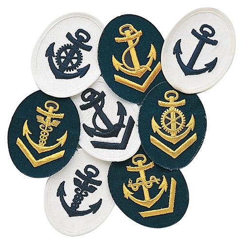 Nášivka námořních jednotek NVA ovál s kotvou + V BÍLÁ