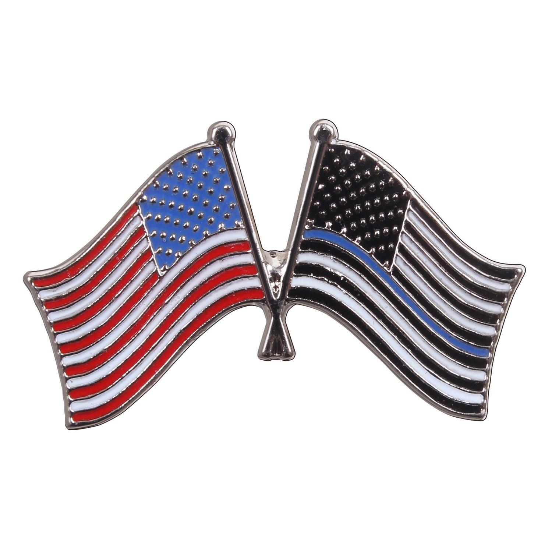 Odznak vlajka USA barevná a s modrou linkou