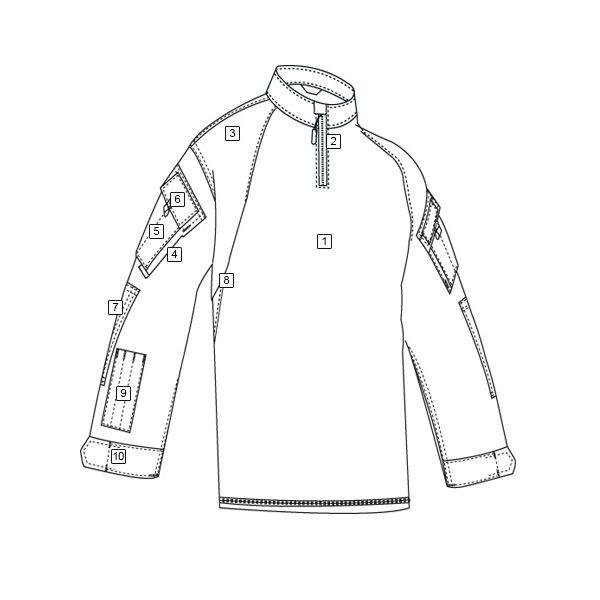 Košile taktická COMBAT TRU 1/4 ZIP URBAN DIGITAL/ČERNÁ TRU-SPEC 25700 L-11