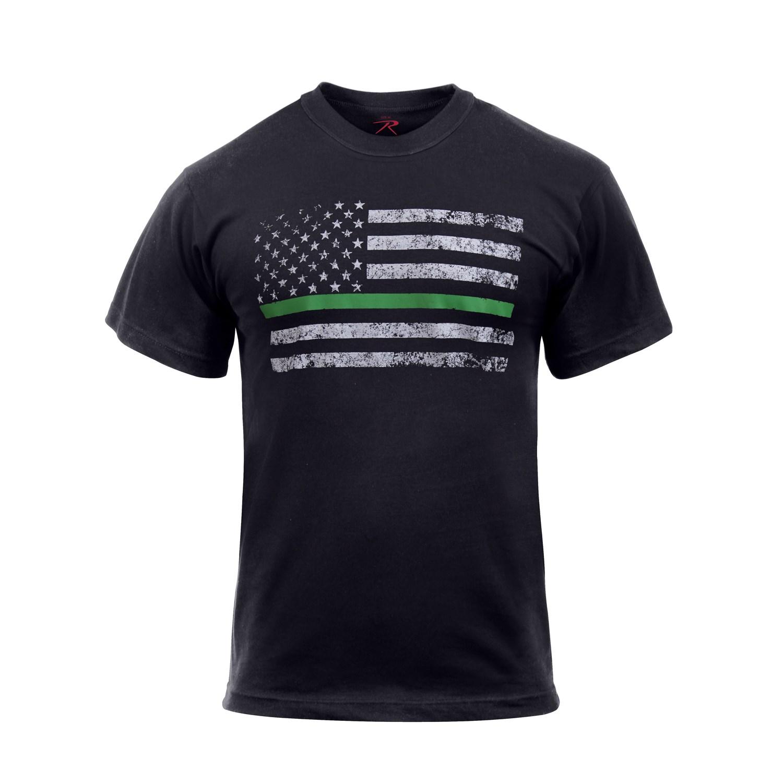 ROTHCO Triko THIN GREEN LINE US vlajka ČERNÉ vel.XXL