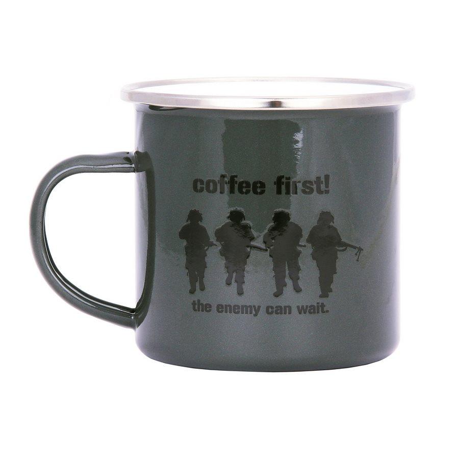 Hrnek COFFEE FIRST! smaltovaný 300 ml ZELENÝ