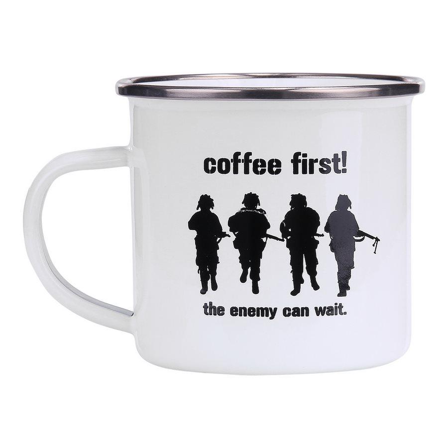Hrnek COFFEE FIRST! smaltovaný 300 ml BÍLÝ
