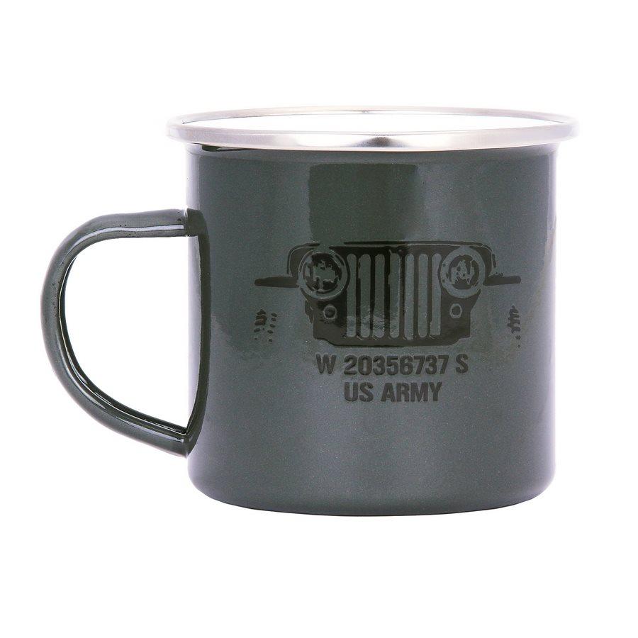Hrnek US ARMY JEEP smaltovaný 300 ml ZELENÝ
