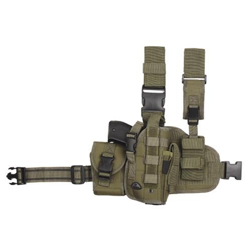 101INC Pouzdro pistolové stehenní se zásobníky pravé ZELENÉ