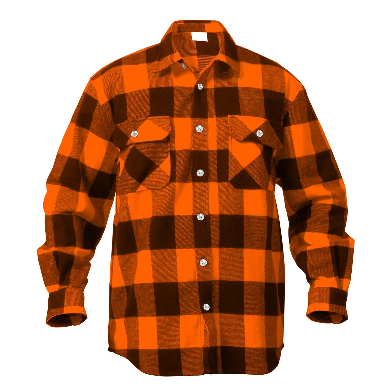 Košile dřevorubecká FLANNEL kostkovaná ORANŽOVÁ ROTHCO 4672 L-11