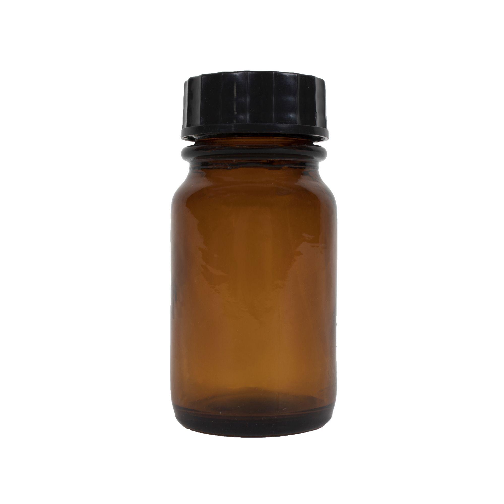 Lahvička skleněná HNĚDÁ 60 ml s plastovým černým víčkem