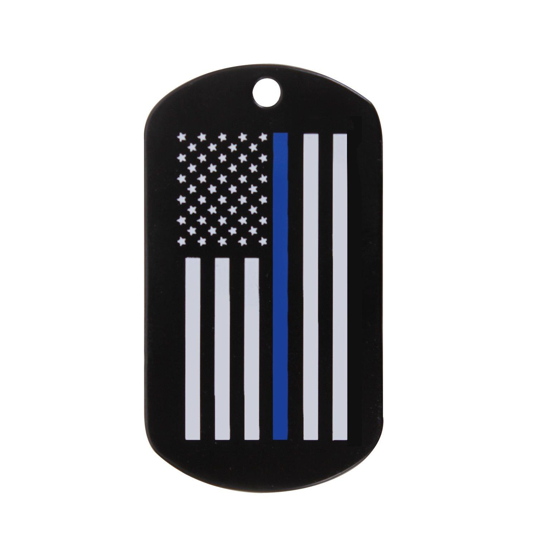 Známka identifikační DOG TAG vlajka US s modrou linkou ROTHCO 8513 L-11
