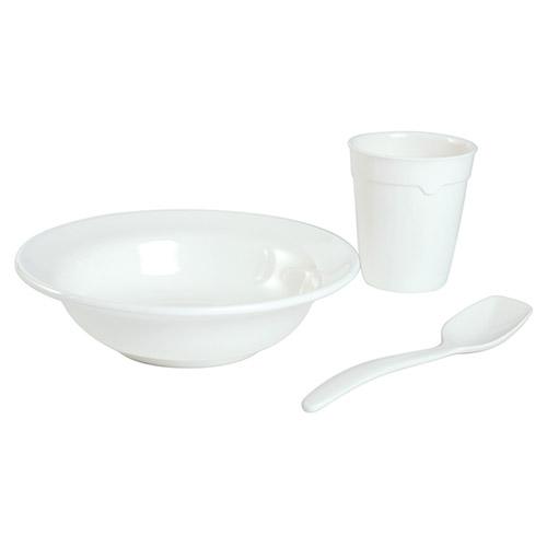 Nádobí plastové MEPAL sada hrnku, talíře a lžíce BÍLÁ