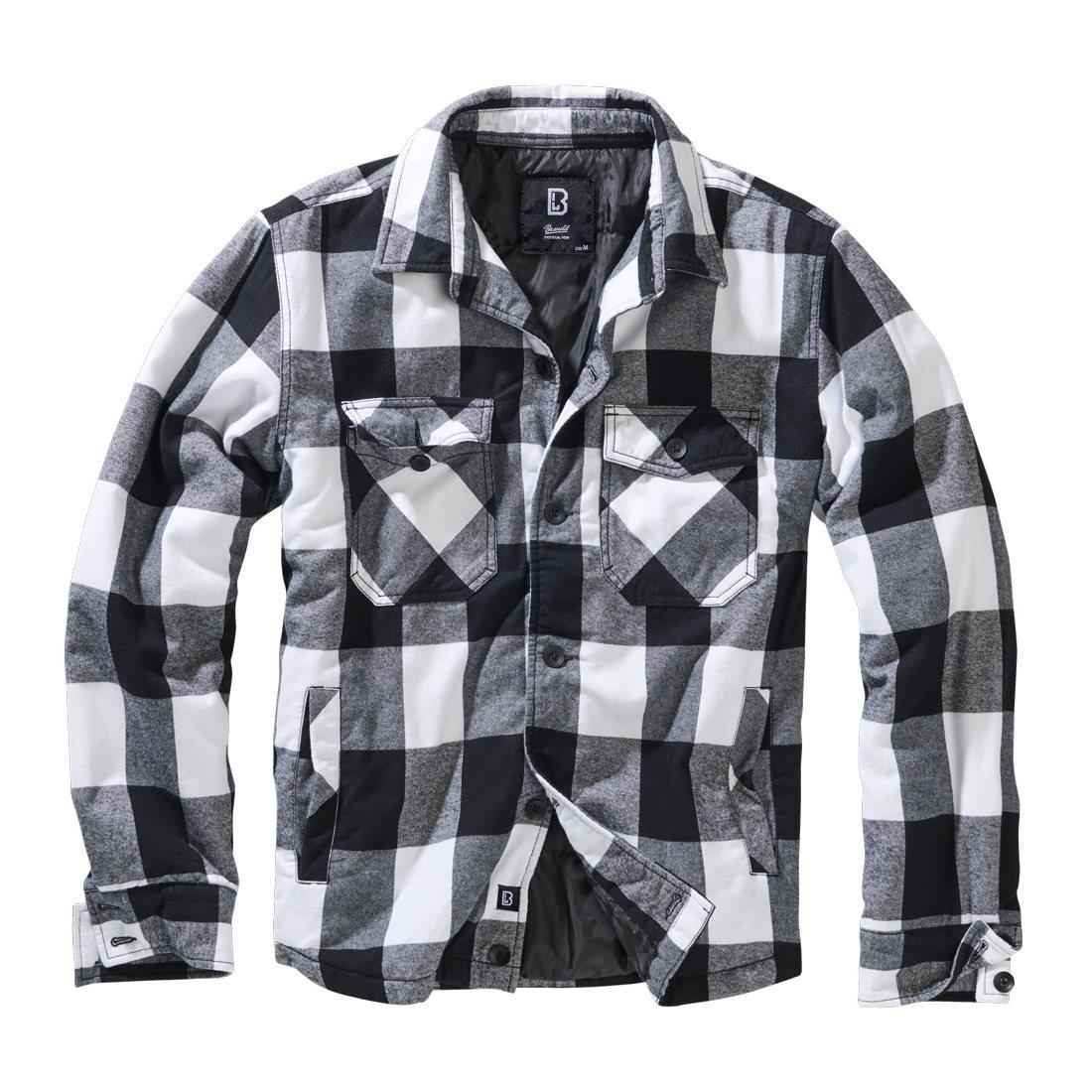Košile LUMBERJACKET dlouhý rukáv flanel BÍLO/ČERNÁ BRANDIT 9478-46 L-11