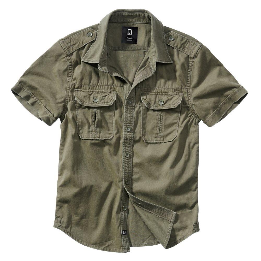 Košile styl VINTAGE krátký rukáv ZELENÁ BRANDIT 4024-1 L-11