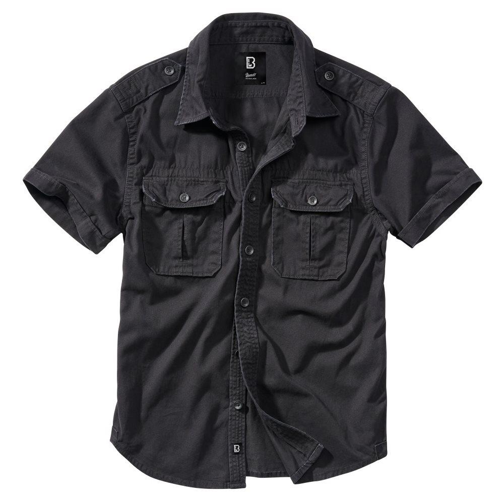 Košile styl VINTAGE krátký rukáv ČERNÁ BRANDIT 4024-2 L-11