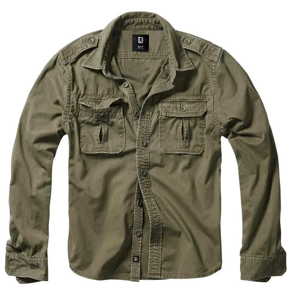 Košile styl VINTAGE dlouhý rukáv ZELENÁ BRANDIT 9373-1 L-11