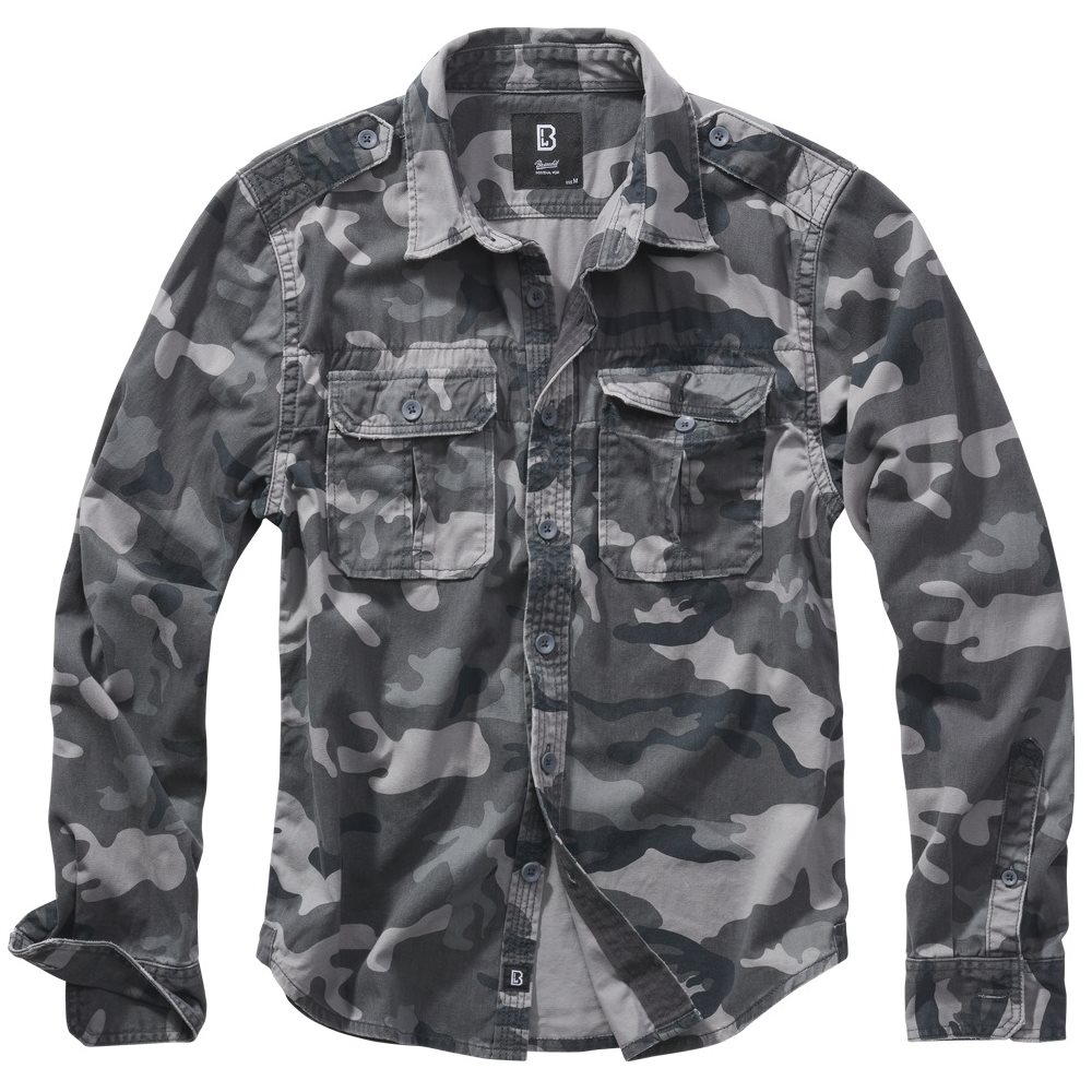 Košile styl VINTAGE dlouhý rukáv GREY CAMO BRANDIT 9373-222 L-11