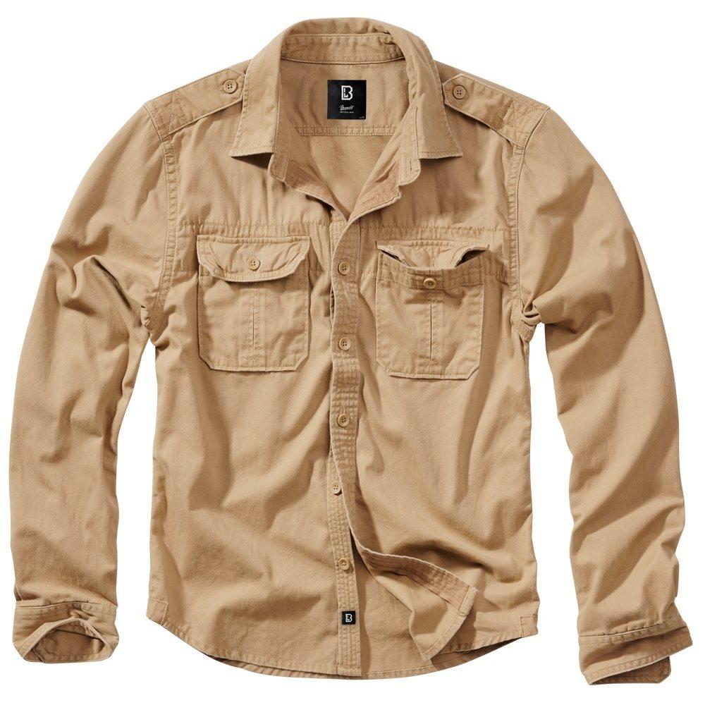Košile styl VINTAGE dlouhý rukáv CAMEL PÍSKOVÁ BRANDIT 9373-70 L-11