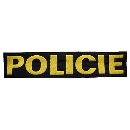 Nášivka POLICIE velká ČERNÁ se žlutou nití