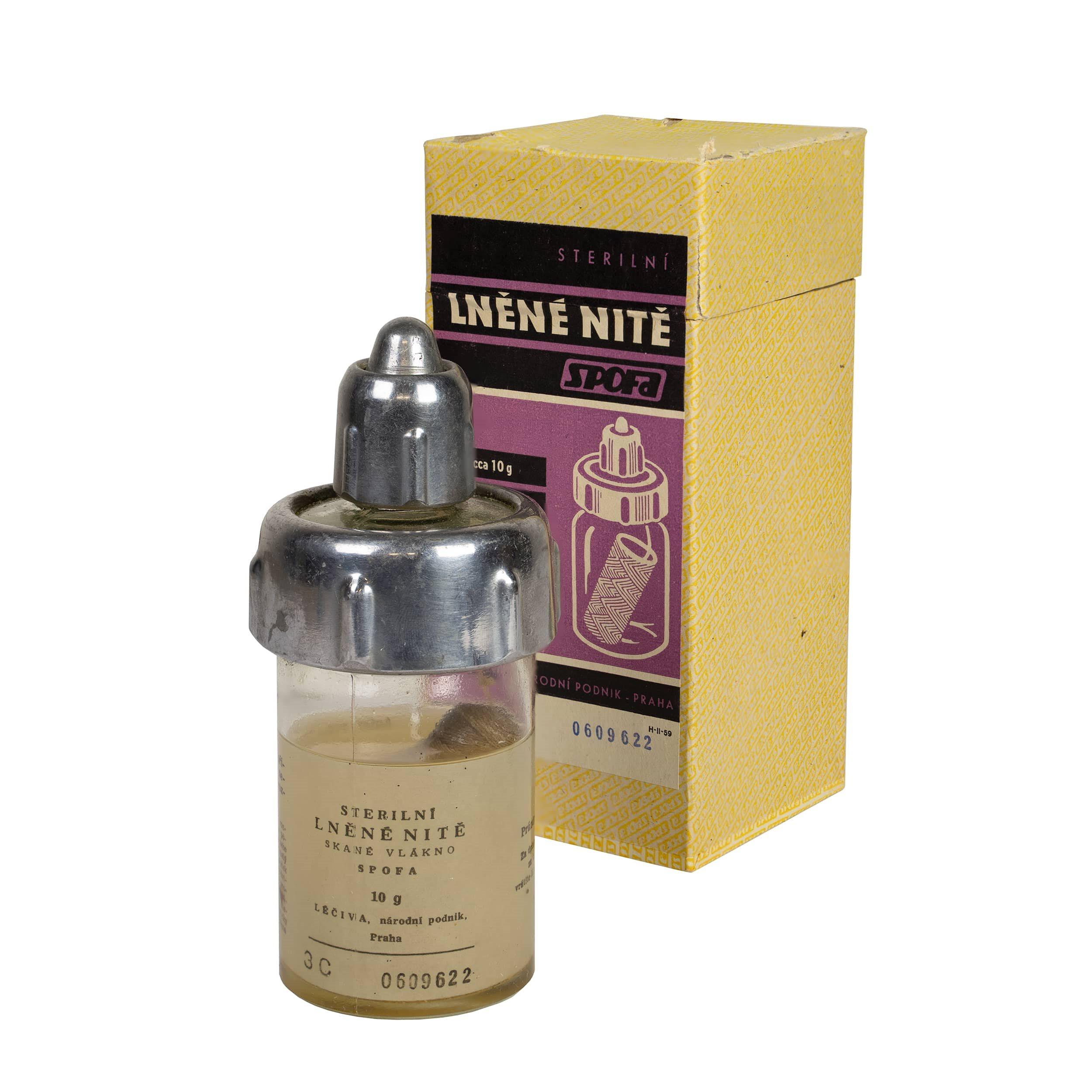 Lněné nitě skané sterilní ve skleničce 10g  H-II-59 L-11