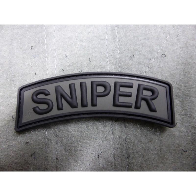 Nášivka oblouček SNIPER velcro plast ŠEDÁ