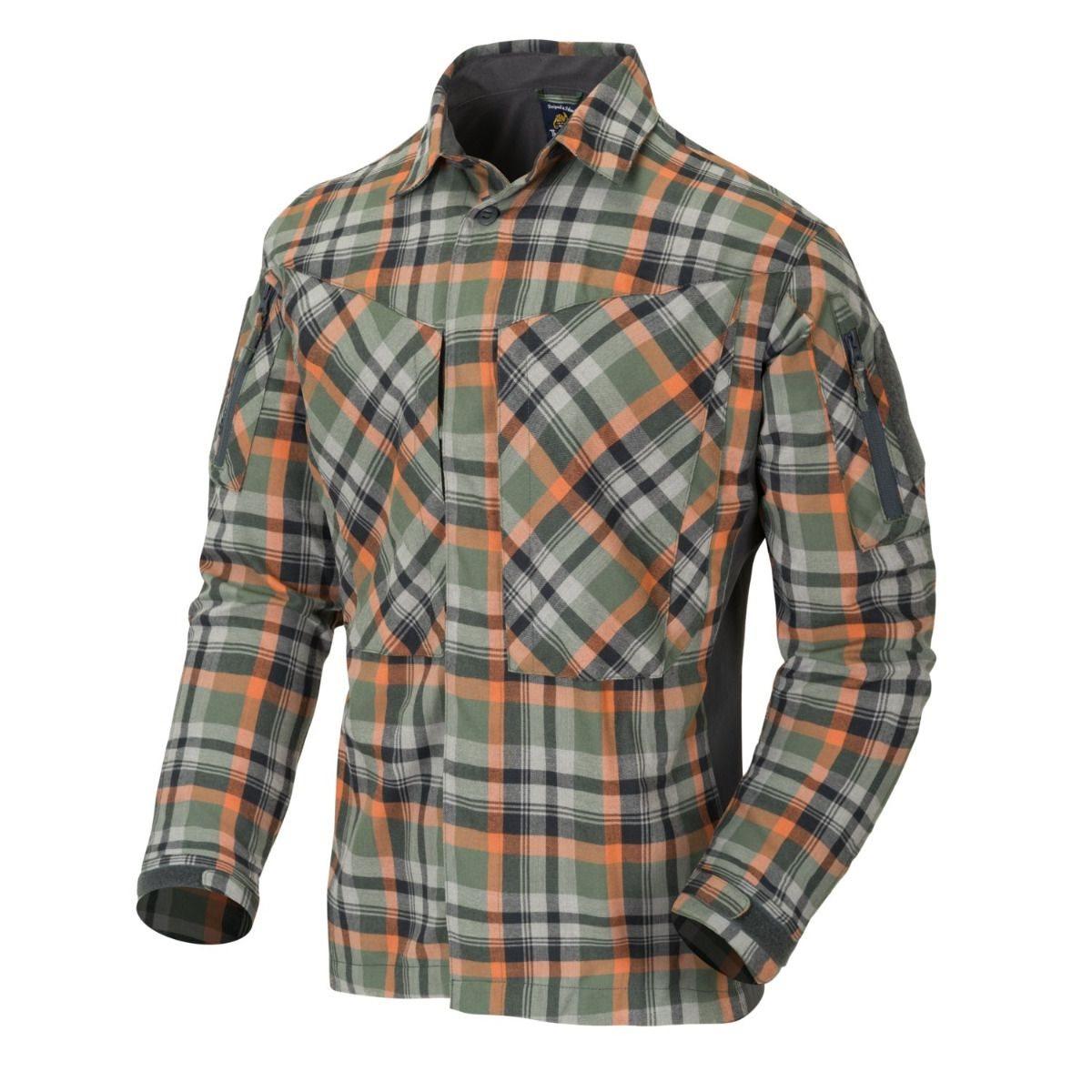 Košile MBDU flanel TIMBER OLIVE PLAID Helikon-Tex® KO-MBD-PO-PF L-11