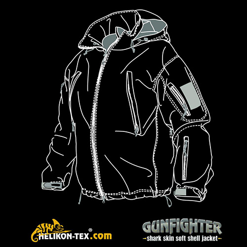 Bunda GUNFIGHTER Shark Skin JUNGLE GREEN Helikon-Tex® KU-GUN-FM-27 L-11