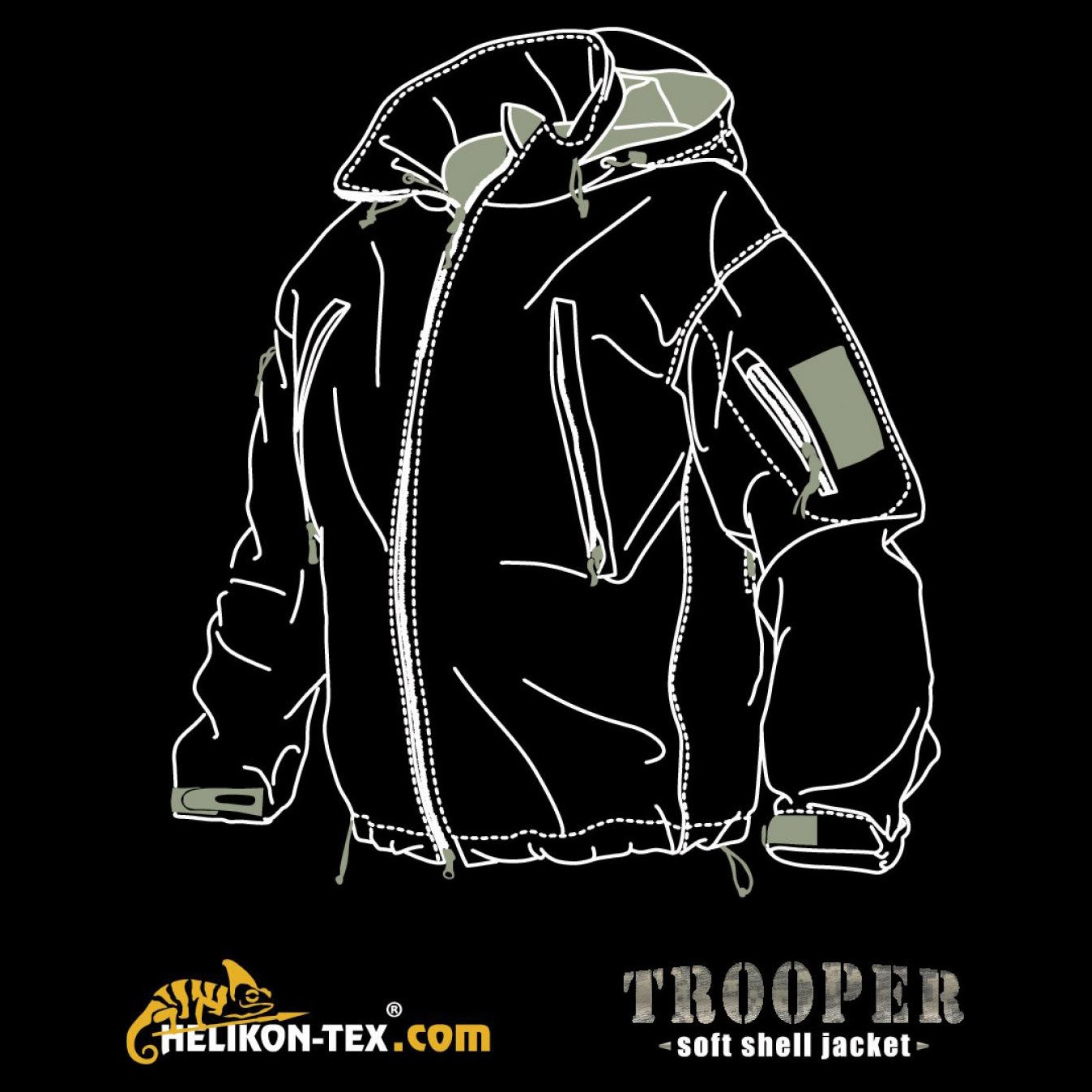 Bunda TROOPER softshell ALPHA GREEN Helikon-Tex® KU-TRP-NL-36 L-11
