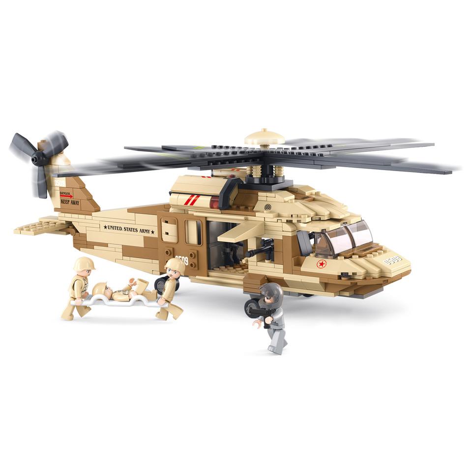 Stavebnice vrtulníku BLACK HAWK v pouštním provedení