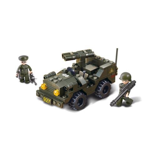 Stavebnice ARMY JEEP s dvouhlavňovým dělem + 2 figurky