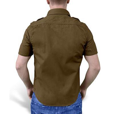 Košile RAW VINTAGE s krátkým rukávem HNĚDÁ