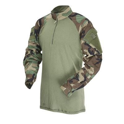 Košile taktická COMBAT TRU 1/4 ZIP US WOODLAND