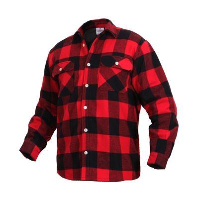 Košile dřevorubecká zateplená fleece kostkovaná ČERVENÁ