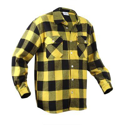 Košile dřevorubecká FLANNEL kostkovaná ŽLUTÁ