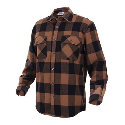 Košile dřevorubecká FLANNEL kostkovaná HNĚDÁ