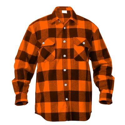 Košile dřevorubecká FLANNEL kostkovaná ORANŽOVÁ