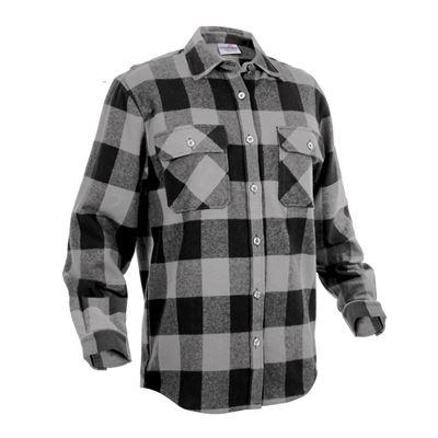 Košile dřevorubecká FLANNEL kostkovaná ŠEDÁ