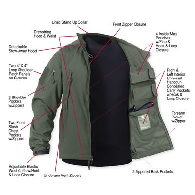 Bunda CONCEALED CARRY softshell ZELENÁ